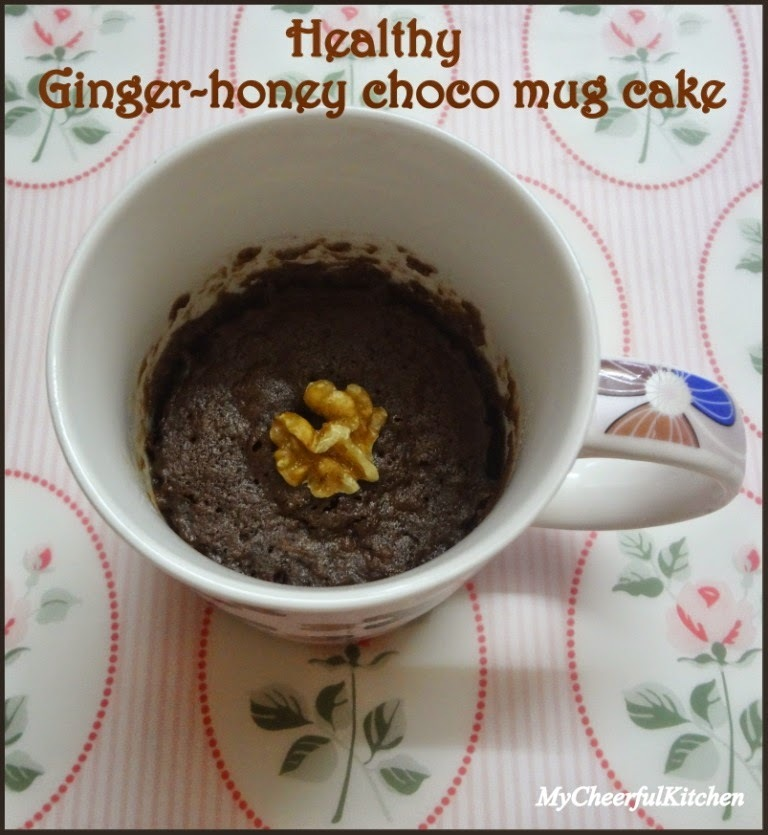 Eggless Ginger-Honey-Choco mug cake