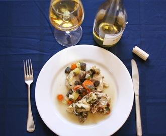Slow Cooker Chicken Coq au Vin Blanc