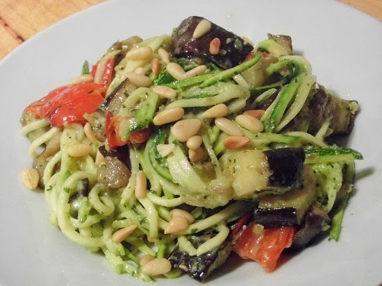 courgette spaghetti with homemade pesto.