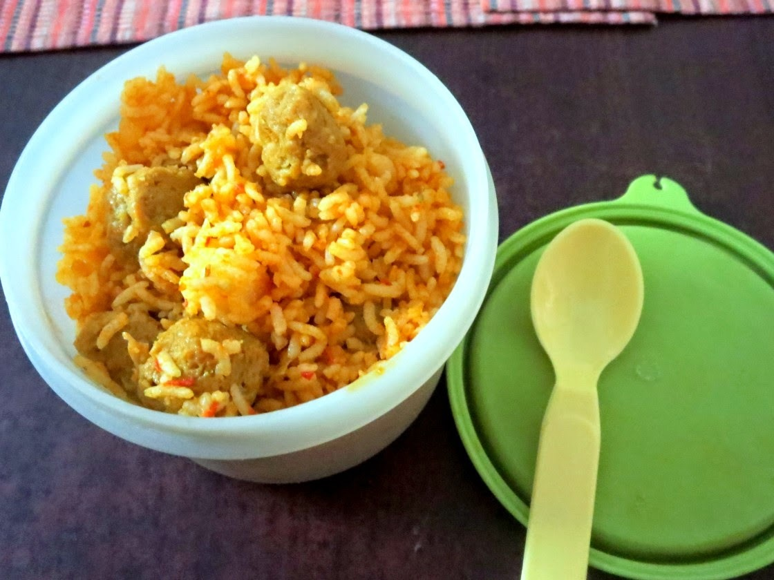 Quick Soya Chunks Tomato Fried Rice ~ Easy Lunch Box Recipe for Kids