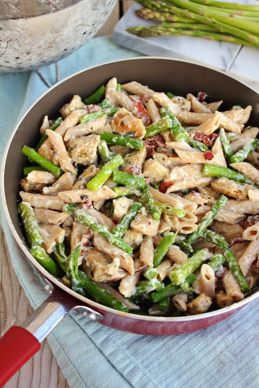 Creamy Chicken and Asparagus with Whole Grain Pasta and Bacon