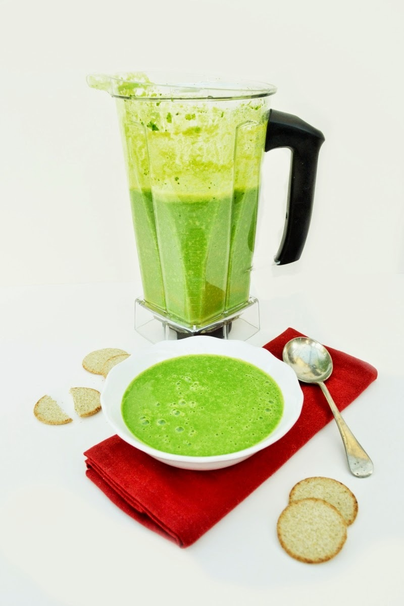 Quick Green Freezer Soup made in a Blender for the 5:2 Diet