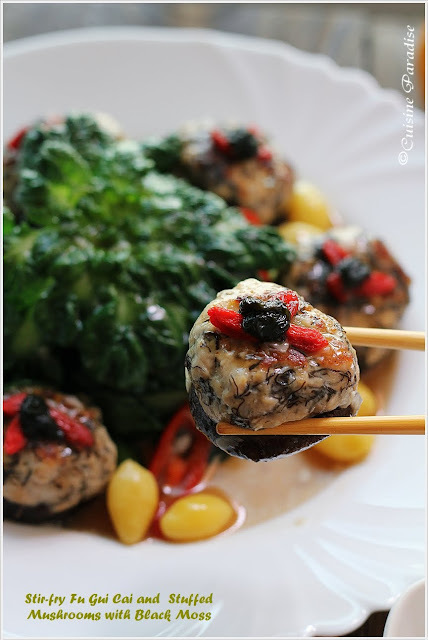 Stir-fry Fu Gui Cai and Stuffed Mushrooms with Black Moss, Glutinous Rice Wine Chicken