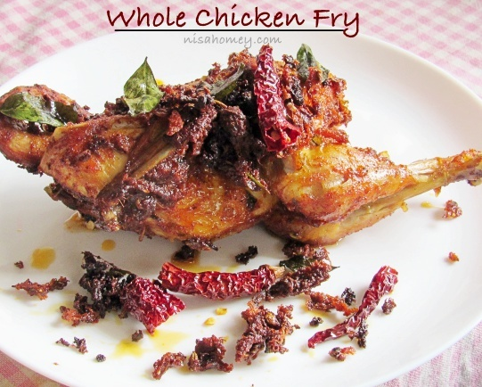 Whole Chicken Fry Recipe - Poricha Kozhi - Kerala Recipes