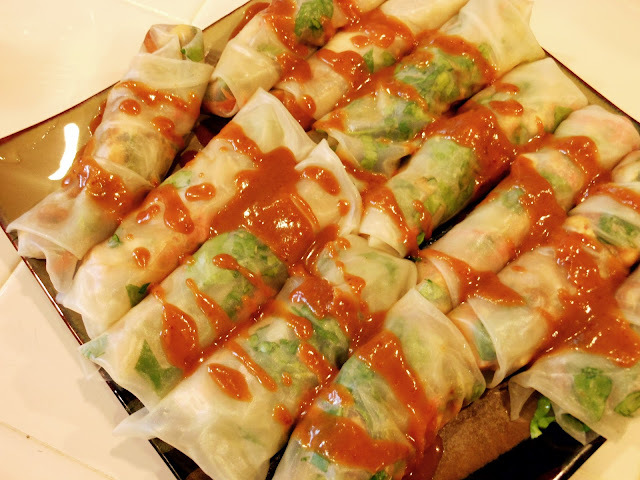 Thai Peanut Chicken Spring Rolls