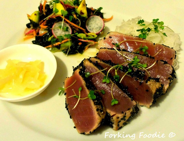 Seared Sesame Tuna with a Soy, Ginger and Lime Seaweed Salad and ...