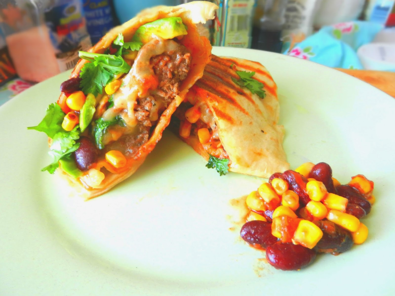 World Cup Eats: Burger Wraps with Avocado, Chipotle Sweetcorn and Red Bean Salsa and Cheese