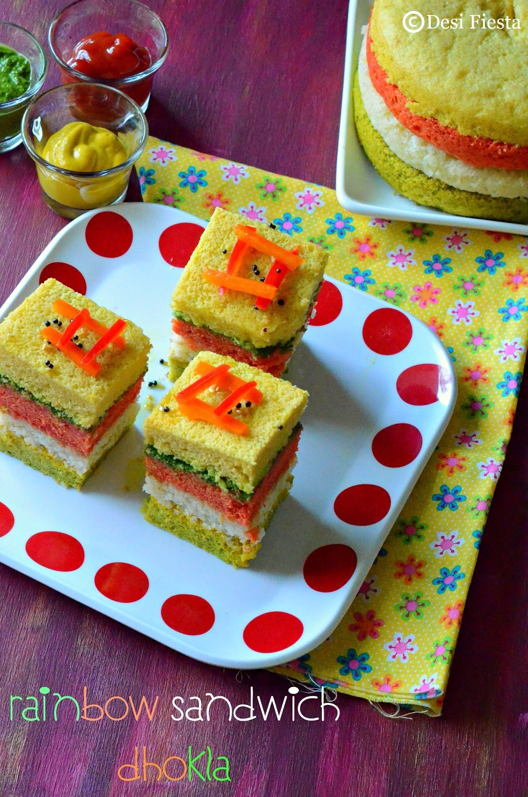 Rainbow Dhokla Sandwich Recipe |Rainbow dhokla - Dhokla Recipes