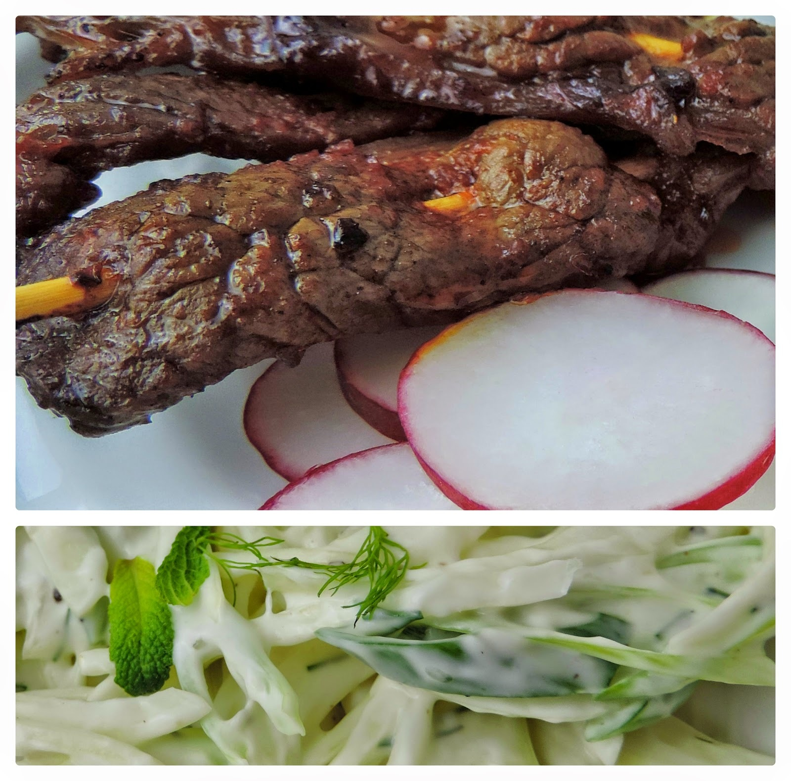 Harissa Beef Skewers with a Fennel Coleslaw