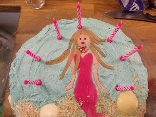 Mermaids for the birthday girl: Orange drizzle cake without the drizzle but with other fun stuff!!