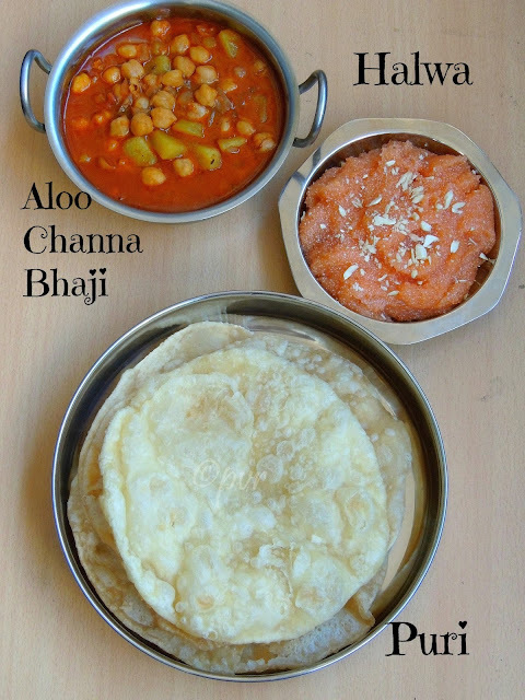 Puri, Aloo Channa Bhaji, Halwa - Pakistani Traditional Breakfast