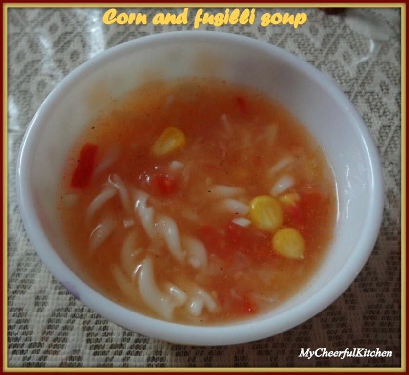 Corn and Fusilli soup