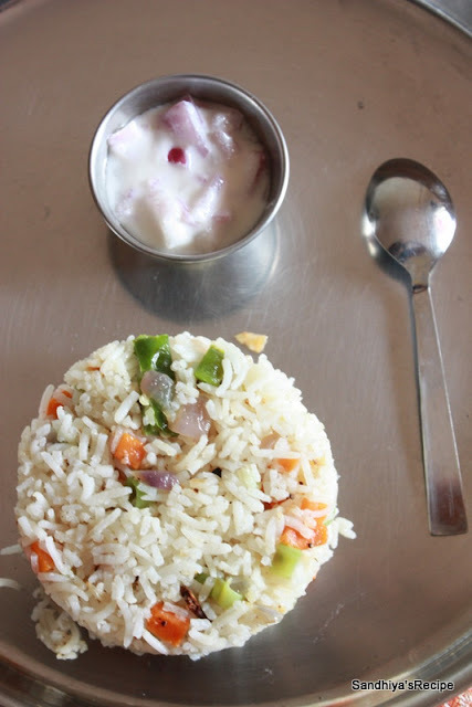 Veg Pulao With Onion Raita