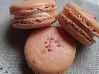 Rose Macarons with a Lemon Cream Cheese Filling