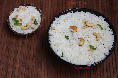 South Indian Coconut Rice Recipe - Easy kobbari annam - Thengai sadam
