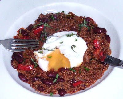 Easy Homemade Chilli with Poached Egg