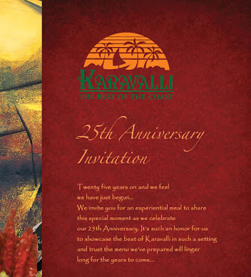 BANGALORE'S SIGNATURE RESTAURANT KARAVALLI TURNS 25 !!!