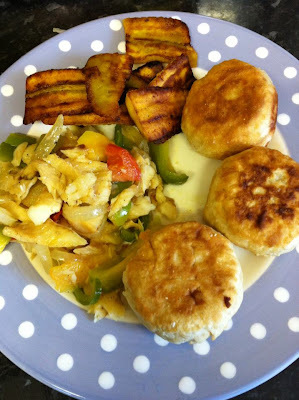 Escovitch fish, saltfish, fried dumplings and fried plantin.