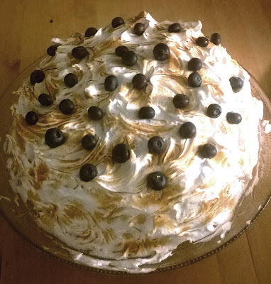 Italian meringue, chocolate and chestnut cake