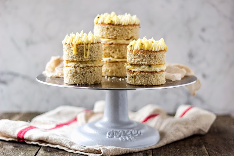 Buttermilk Mini Cakes with Passionfruit and Lime Frosting