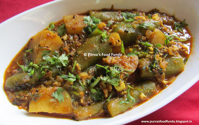 Shiralyachi Bhaji / Dodakyachi Bhaji ~ Turai-Aaloo Sabji / Ridge Gourd & Potato Curry