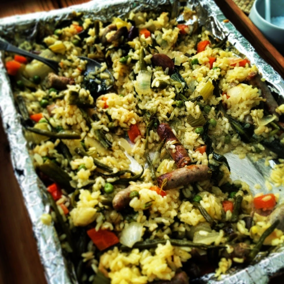 sausage and wild garlic oven-baked paella