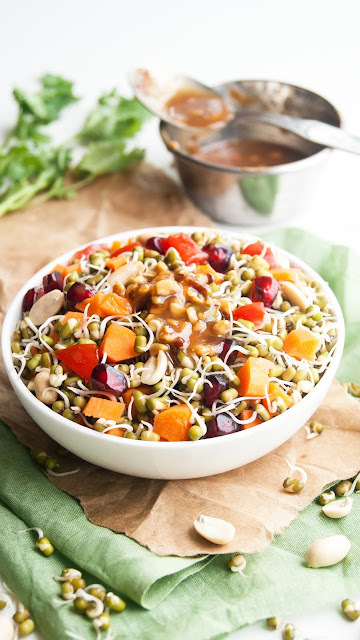 Sprouted Mung Bean Salad with Creamy honey peanut dressing