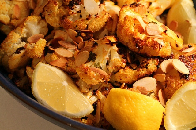 Spiced Roasted Cauliflower with Toasted Almonds
