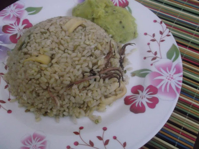 Koonthal Chorum Parippum - Squid Rice with Dal