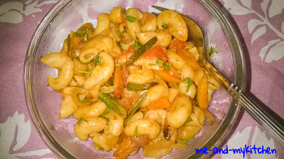 Indian style Pasta / Veggie Pasta with Indian Spices / Desi style Pasta