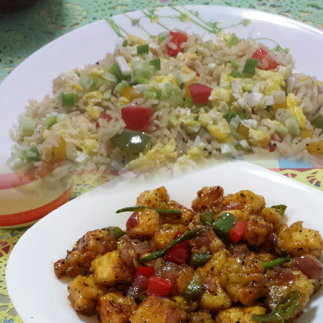 EGG FRIED RICE WITH SWEET N SOUR PANEER