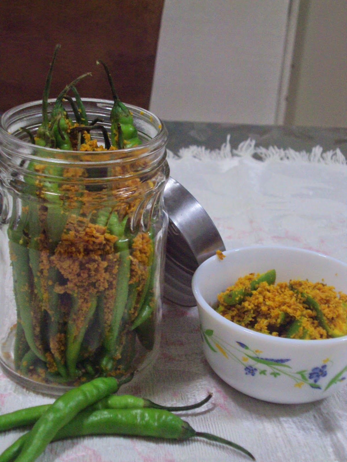 Recipe of Instant Green Chilli Pickle | How to Make Green Quick Chilli Pickle, Rai Wala Marcha