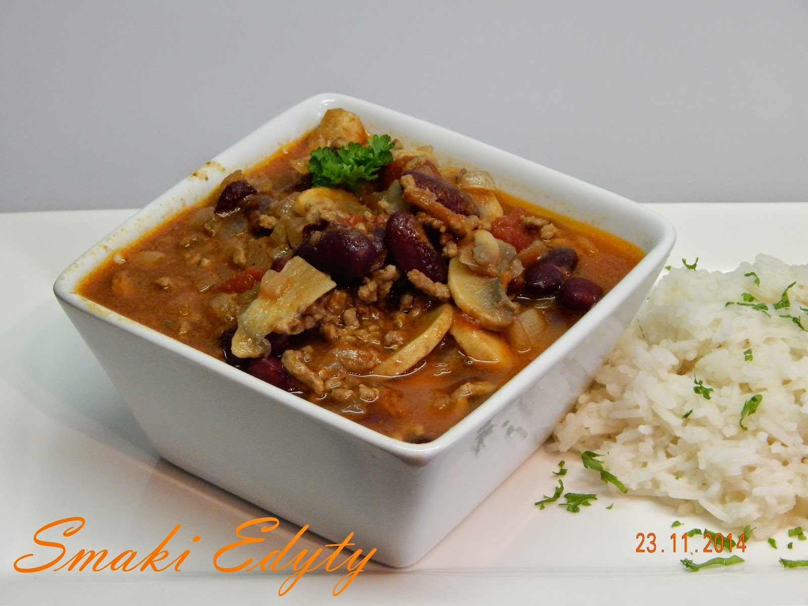 Chilli con carne z pieczarkami- chilli con carne with mushrooms