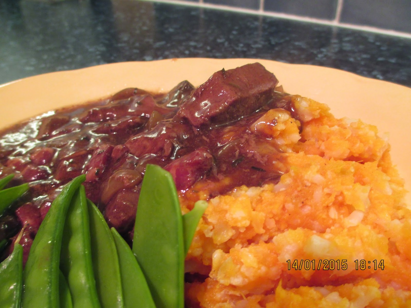 Luxury on a budget - Boeuf Bourguignon, Sweet potato and cauliflower mash with Manchego cheese.
