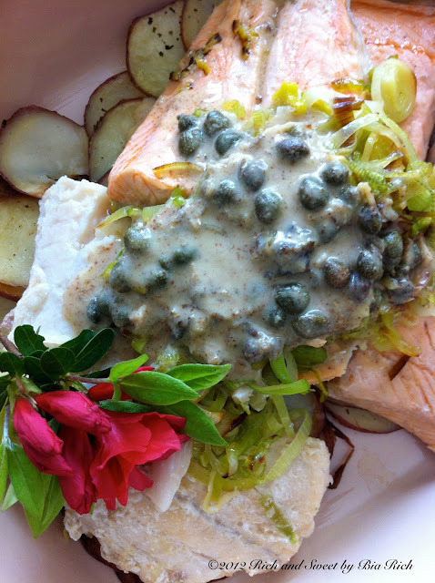Pan Fried Fish of Choice with Leeks, Capers, Dijon Mustard and Wine Sauce served over Oven Potato Chips