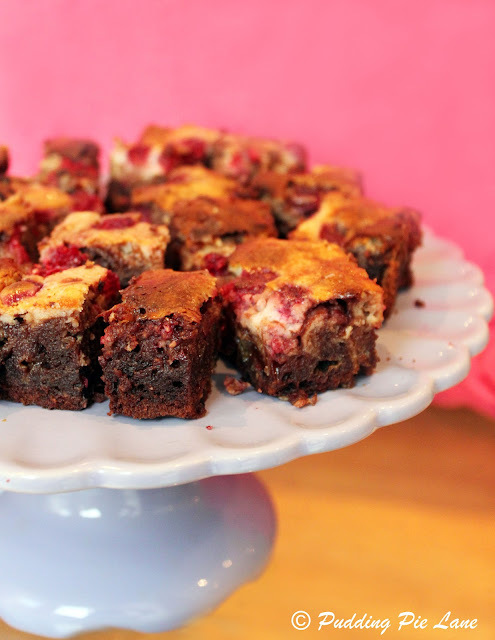 Chocolate and Raspberry Cheesecake Brownies (Green & Black's recipe)