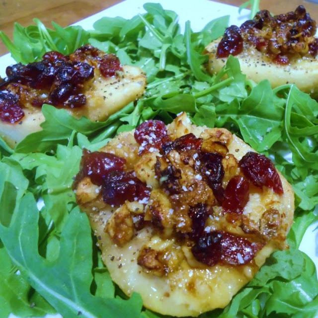 Roasted Pears  with Blue Cheese, Cranberry and Walnut Stuffing