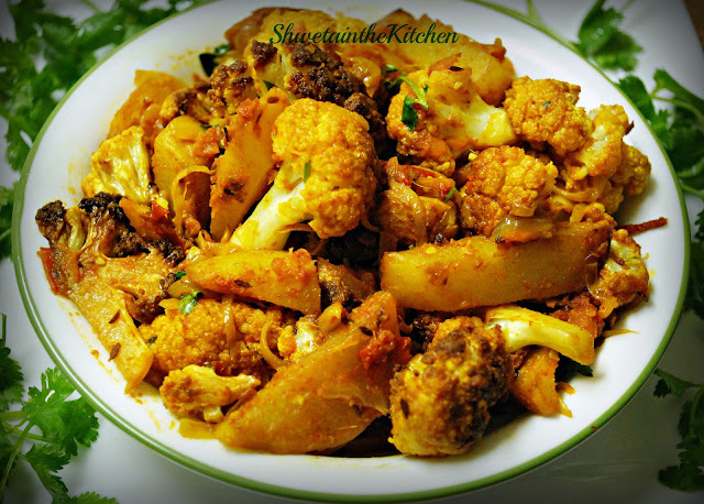 Aloo Gobi - Potato Cauliflower - Fried version