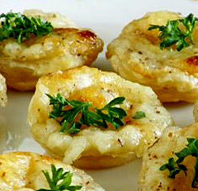 Mayonnaise and Cheese Canapes, Served Hot