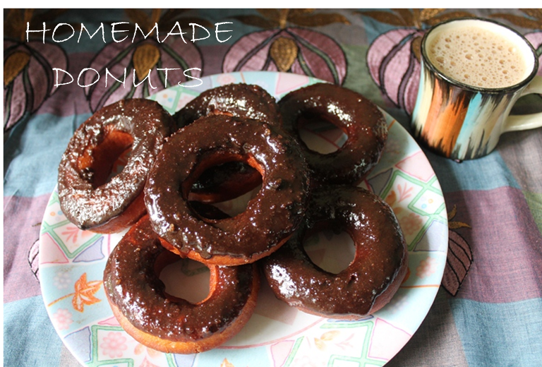 Eggless Doughnuts with Chocolate Glaze / Homemade Donut made from Scratch