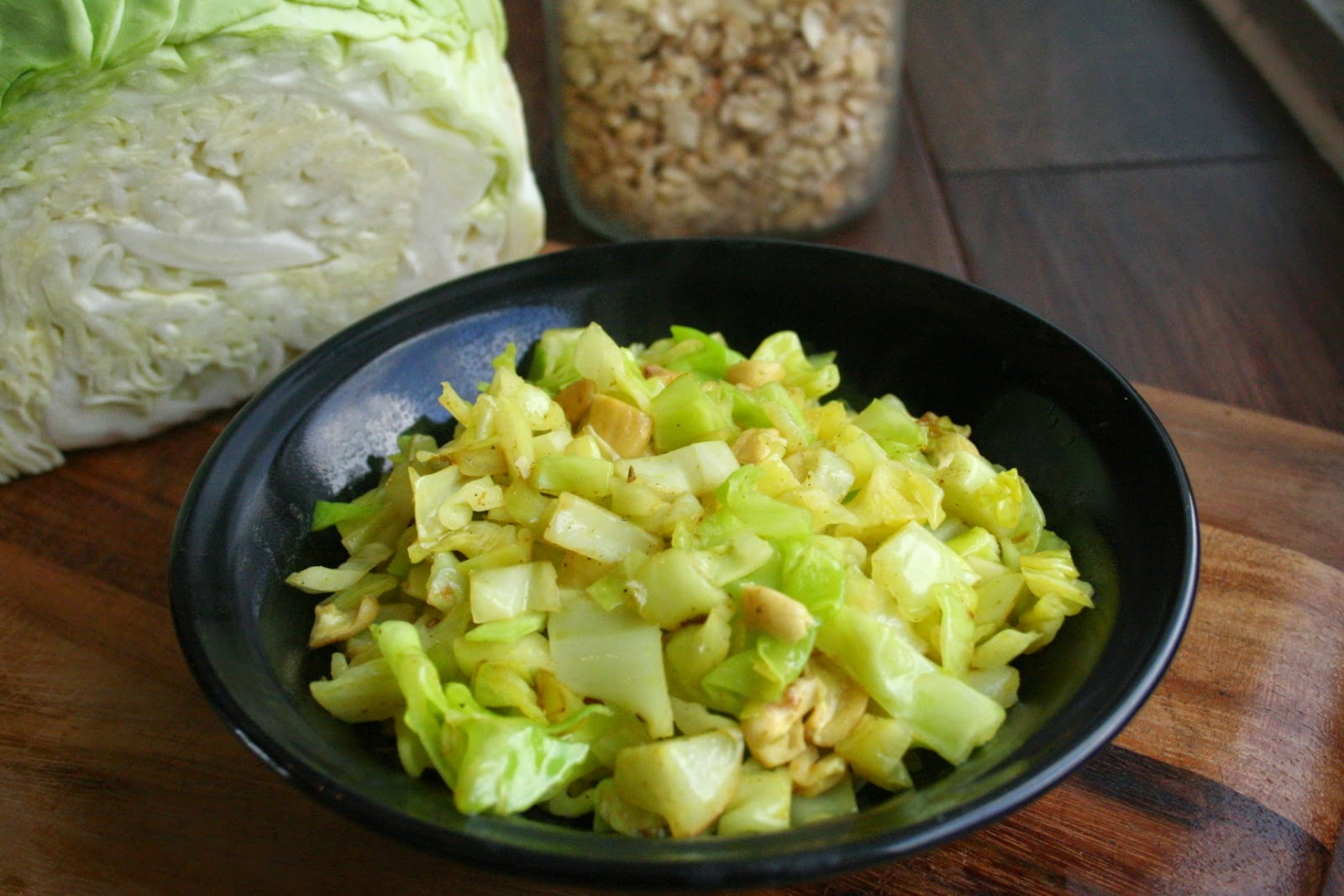 Curried Cabbage with Cashews (Gluten and Dairy Free)