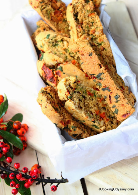 Eggless Oat, Red Pepper, Coriander and Pine Nut Biscotti - Countdown to Christmas!
