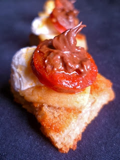 chorizo, nutella, sour cheese and pickled apple crostini