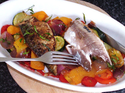 Spicy Mackerel and Roasted Mixed Veg