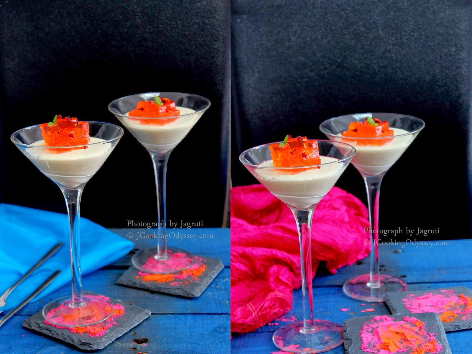 Thandai ( A refreshing spiced drink ) Panna cotta with Rose N Saffron Jelly - Holi Hai !