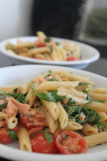 Creme Fraiche and Lemon Pasta with Smoked Salmon