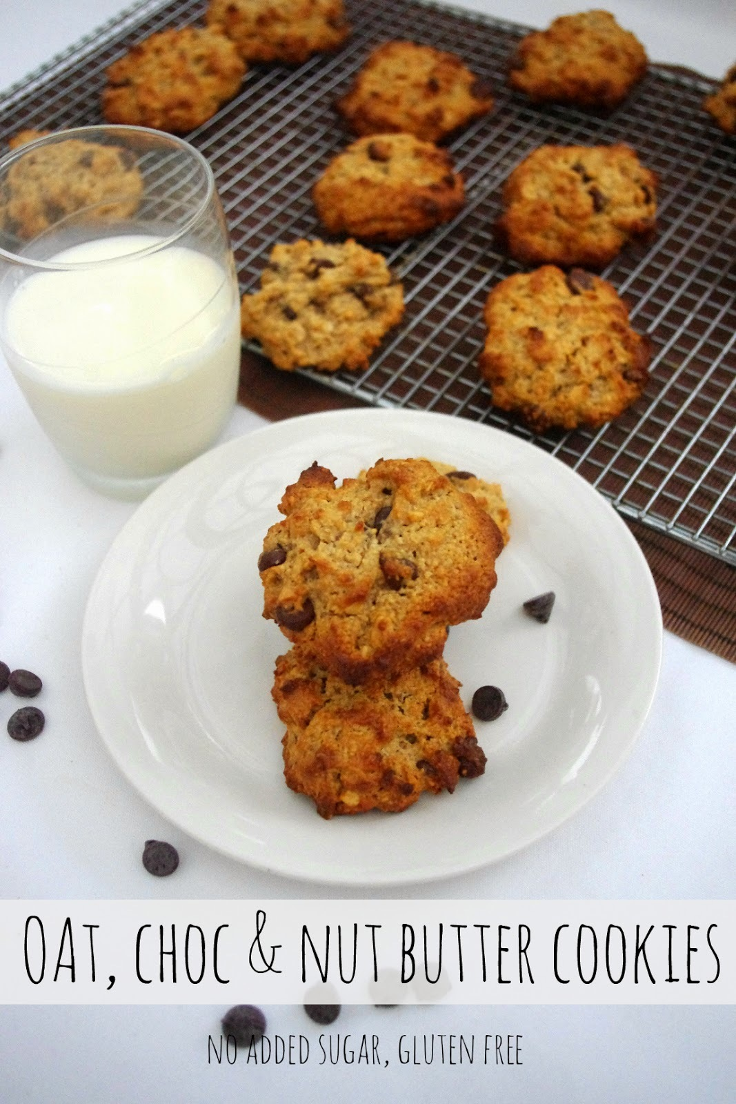 Oat, chocolate and nut butter cookies (gluten and sugar free)