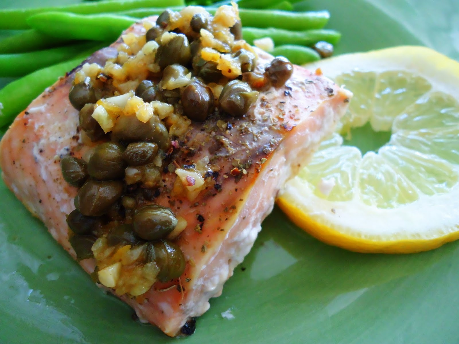 Baked Salmon with Lemon Caper Butter Sauce