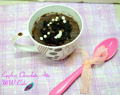 Eggless Chocolate Atta Microwave Cake ~ Guilt-Free Mug Cake Recipes