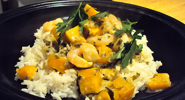Butternut Squash and Prawn, Thai style curry